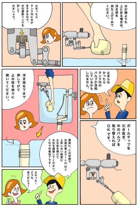トイレのボールタップの水位調整方法