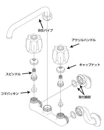 2バルブ混合水栓分解図