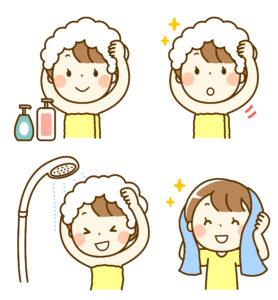 シャワーをあびる